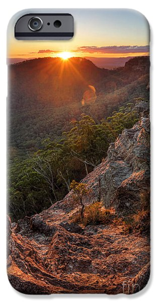 Ledge iPhone Cases - Sunset Rock Mt Victoria Blue Mountains iPhone Case by Leah-Anne Thompson