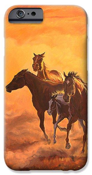 Quarter Horses iPhone Cases - Sunset run iPhone Case by Jana Goode