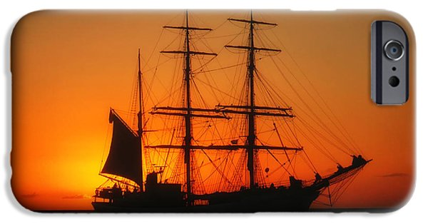 Tall Ship iPhone Cases - Sunset Sail iPhone Case by Agnes Ti