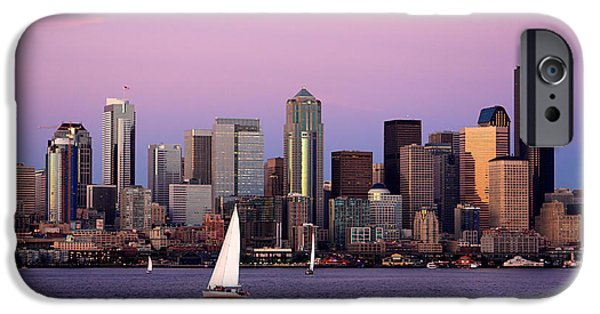 Sailboat Photos iPhone Cases - Sunset Sail in Puget Sound iPhone Case by Adam Romanowicz