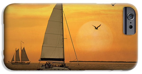 Sailboat Ocean iPhone Cases - Sunset Sail iPhone Case by Juli Scalzi