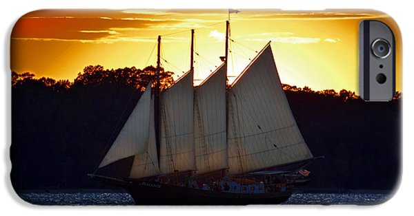 Yorktown Virginia iPhone Cases - Sunset Sail iPhone Case by Nancy Comley