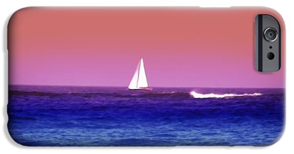 Sailboat Ocean iPhone Cases - Sunset Sailboat iPhone Case by Bill Cannon