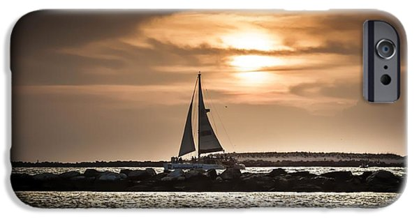 Sailboat Ocean iPhone Cases - Sunset Sailing  iPhone Case by Debra Forand