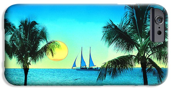 Sailboat Ocean Digital Art iPhone Cases - Sunset Sailor iPhone Case by Bill Cannon