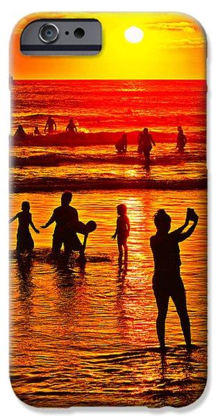 Ocean Sunset iPhone Cases - Sunset Selfie iPhone Case by Juan Pazos