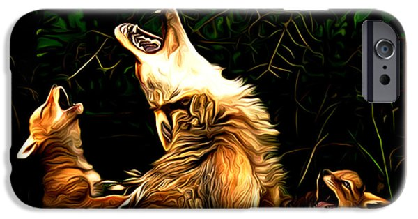 Puppies Digital Art iPhone Cases - Sunset Serenade iPhone Case by Larry Espinoza