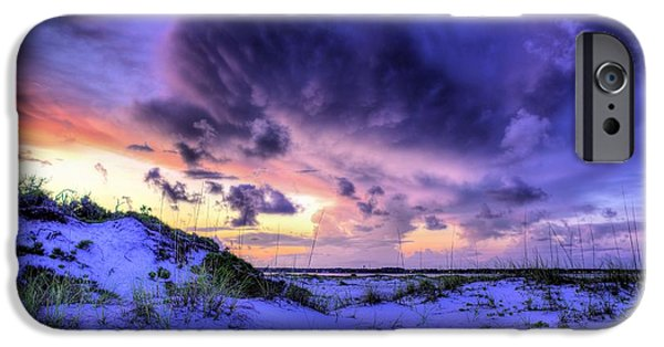 Florida Panhandle iPhone Cases - Sunset Storms Over Pensacola Beach iPhone Case by JC Findley