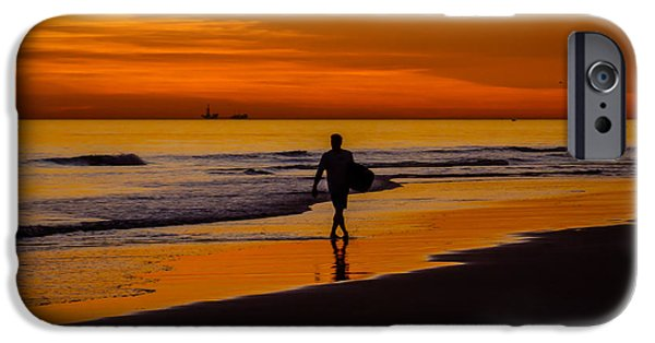 Board iPhone Cases - Sunset Surfer iPhone Case by Pamela Newcomb