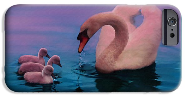 Swans... iPhone Cases - Sunset Swan iPhone Case by Frank Bonnici