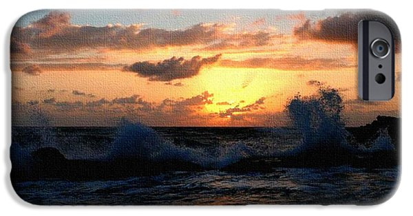 Business Paintings iPhone Cases - Sunset Through the Breakers H b iPhone Case by Gert J Rheeders