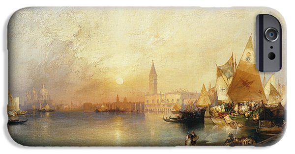 Historical Buildings iPhone Cases - Sunset Venice iPhone Case by Thomas Moran
