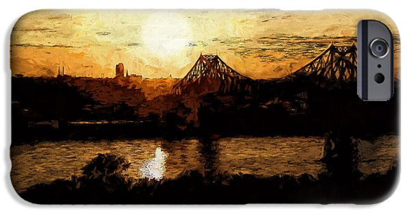 River View iPhone Cases - Sunset with Bridge iPhone Case by John K Woodruff
