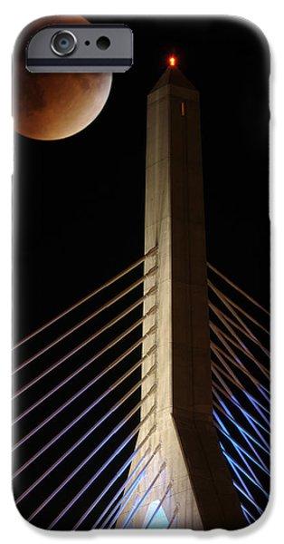 Boston Ma iPhone Cases - Super Blood Moon over Leonard Zakim Bridge iPhone Case by Soon Ming Tsang