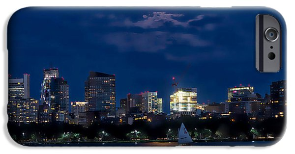 Boston Ma iPhone Cases - Super Moon Boston iPhone Case by Larry  Richardson