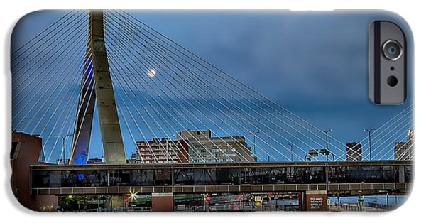 Boston Ma iPhone Cases - Super Moon over Zakim  iPhone Case by Larry  Richardson