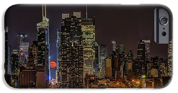 Empire State Building iPhone Cases - Super Moon Rising iPhone Case by Susan Candelario