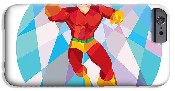 Punching Digital iPhone Cases - Superhero Running Punching Low Polygon iPhone Case by Aloysius Patrimonio