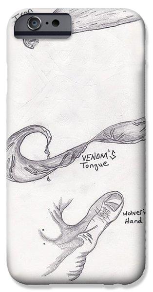 Biological Drawings iPhone Cases - Superheros iPhone Case by Adam Norman