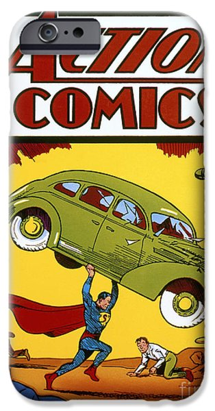 Strength Photographs iPhone Cases - Superman Comic Book, 1938 iPhone Case by Granger