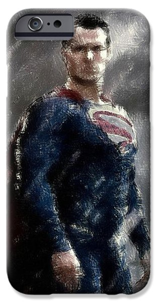 Building Pastels iPhone Cases - Superman Oil Pastel Sketch iPhone Case by Movie Poster Prints