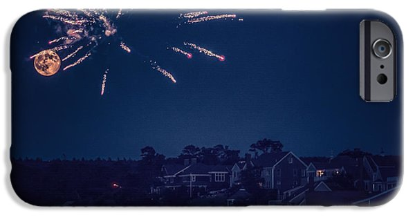 4th July Photographs iPhone Cases - Supermoon and Fireworks  iPhone Case by Black Brook Photography