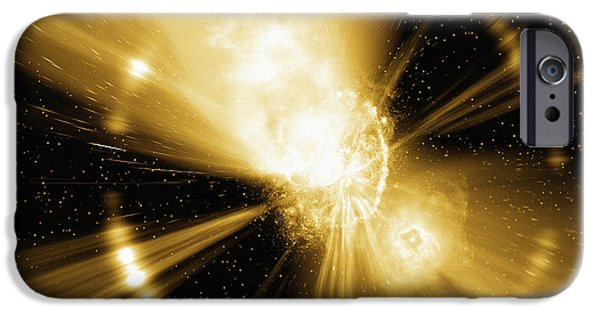 Gamma Ray Burst iPhone Cases - Supernova Explosion, Computer Artwork iPhone Case by Mehau Kulyk