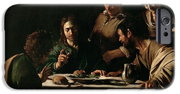 Religious iPhone Cases - Supper at Emmaus iPhone Case by Michelangelo Merisi da Caravaggio