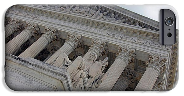 Cora Wandel iPhone Cases - Supreme Court With Authority Of Law Statue iPhone Case by Cora Wandel