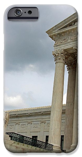 Cora Wandel iPhone Cases - Supreme Court With Contemplation Of Justice Statue iPhone Case by Cora Wandel