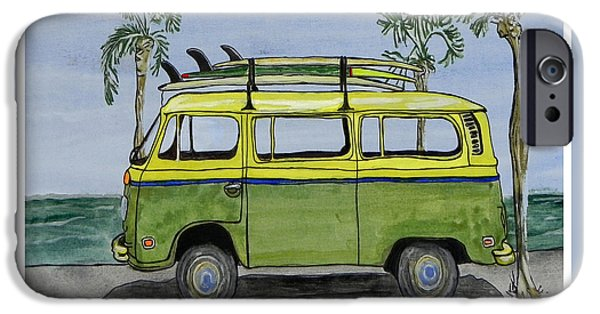 Adventure Photographs iPhone Cases - Surf Art VW Bus and Long Boards  iPhone Case by W Gilroy