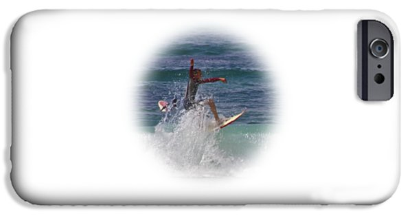Board iPhone Cases - Surf Dude on Transparent background iPhone Case by Terri  Waters