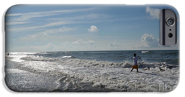 Morning iPhone Cases - Surf Fisherman iPhone Case by Aaron  Shortt