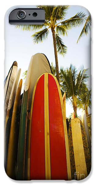 Surfboards At Waikiki iPhone Case by Dana Edmunds - Printscapes