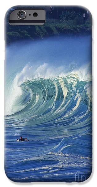 Turbulent Skies iPhone Cases - Surfer And Wave iPhone Case by Vince Cavataio - Printscapes