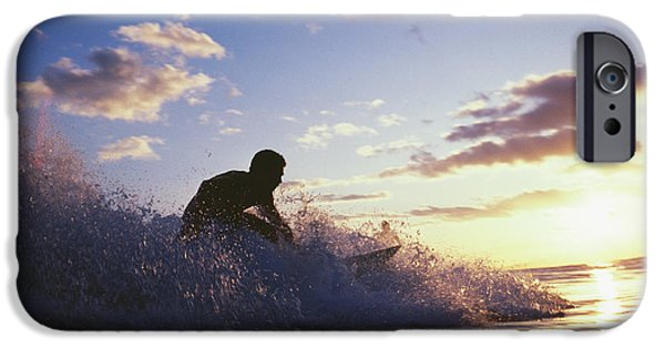 Adrenaline iPhone Cases - Surfer At Sunset iPhone Case by Bob Abraham - Printscapes