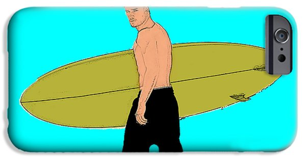 Board iPhone Cases - Surfer dude iPhone Case by Stephen Yap