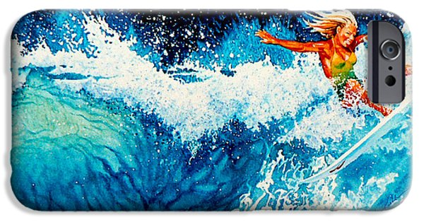 Sports Artist iPhone Cases - Surfer Girl iPhone Case by Hanne Lore Koehler