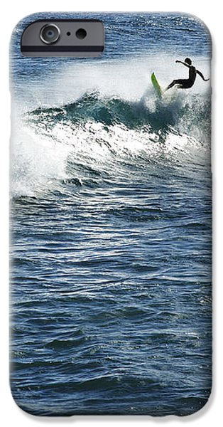 Surfer riding a wave iPhone Case by Brandon Tabiolo - Printscapes