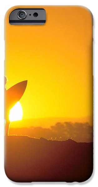 Surfer Silhouetted At Sun iPhone Case by Erik Aeder - Printscapes