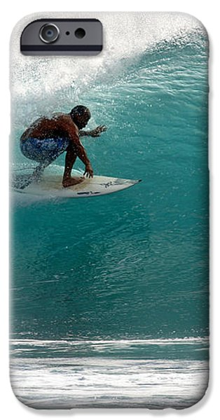 Surfer Surfing in the tube of blue waves at Dumps Maui Hawaii iPhone Case by Pierre Leclerc Photography