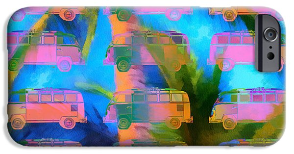 Colorful Abstract Photographs iPhone Cases - Surfer Van Palm Tree iPhone Case by Edward Fielding
