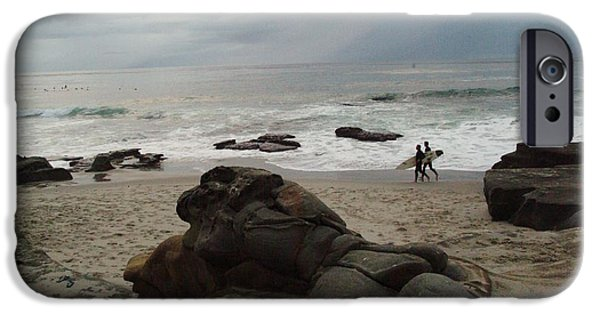 La Jolla Surfers iPhone Cases - Surfers at dusk iPhone Case by Alberta Brown Buller