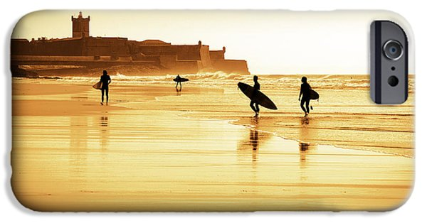 Beach iPhone Cases - Surfers silhouettes iPhone Case by Carlos Caetano