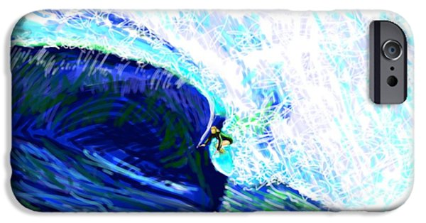 Abstract Digital Drawings iPhone Cases - Surfing 82315 Includes RY Website Text iPhone Case by Robert Yaeger