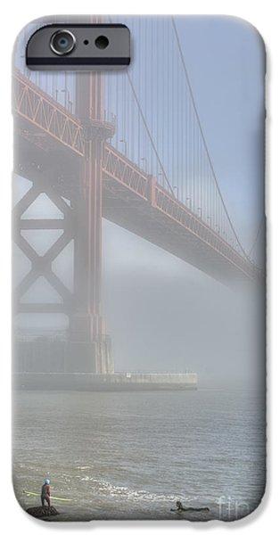 Bay Bridge iPhone Cases - Surfing at the Bridge iPhone Case by David Bearden