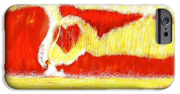 Abstract Digital Drawings iPhone Cases - Surfing Love iPhone Case by Robert Yaeger