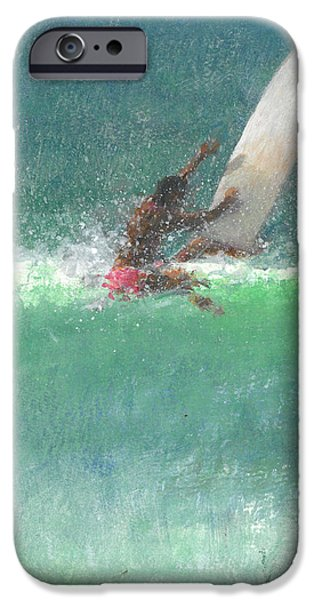Surfing iPhone Cases - Surfing  One iPhone Case by Lincoln Seligman