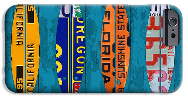 Board Mixed Media iPhone Cases - Surfs Up Surf Board Beach Ocean Decor Recycled Vintage License Plate Art iPhone Case by Design Turnpike