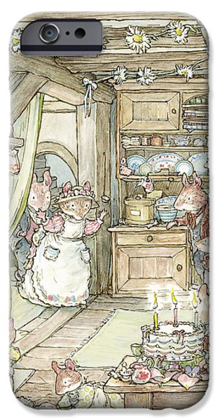 Tea Party iPhone Cases - Surprise at Mayblossom cottage iPhone Case by Brambly Hedge